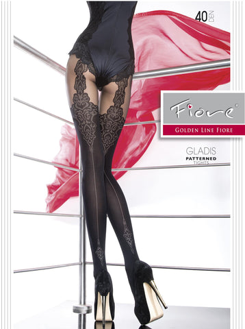 GLADIS Patterned Tights 40 Den Fiore Hosiery - Carrie's Closet