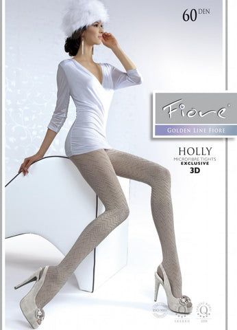 Holly Patterned Tights 60 den Fiore Hosiery - Carrie's Closet