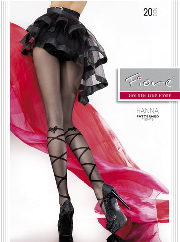 Hanna Patterned Tights 20 den Fiore Hosiery - Carrie's Closet