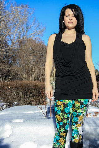 Green leggings with floral and leopard print - Carrie's Closet
