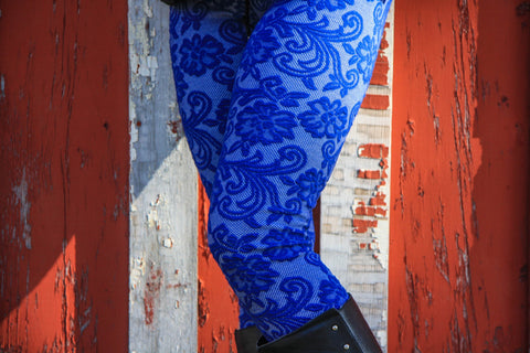 Blue Lace High Waist Leggings With Zipper - Carrie's Closet