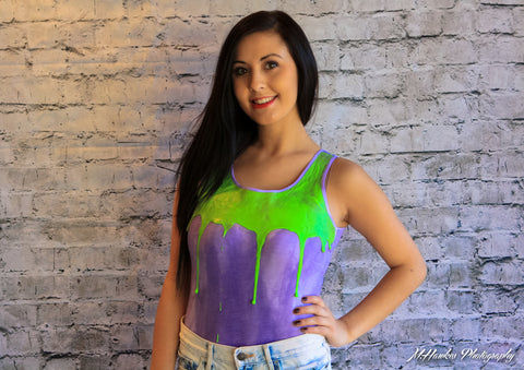 Purple Meltybody with Neon Green Body Suit from URB Clothing - Carrie's Closet