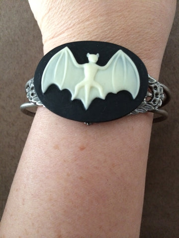 Ivory Bat on Black Cuff Bracelet - Carrie's Closet