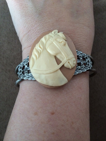 Ivory Horse on Mocha Resin Cuff Bracelet - Carrie's Closet