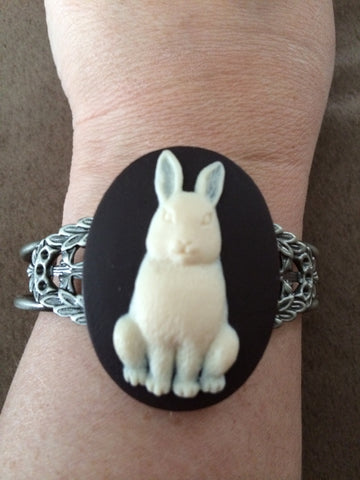 Ivory Rabbit on Dark Brown Resin Cuff Bracelet - Carrie's Closet