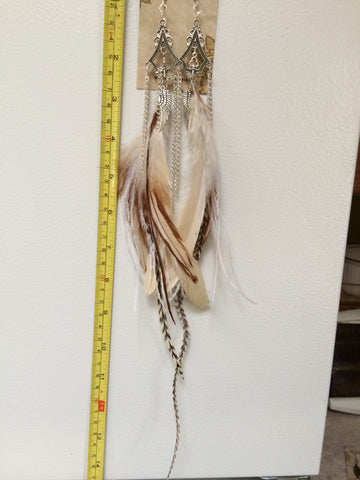 "Handcrafted Cruelty Free Leaf Drop Angel Wing Feather Earrings +12"" Nan'darach Designs - Carrie's Closet"