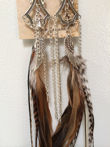 "Handcrafted Cruelty Free Leaf Drop Dark Feather Earrings +12"" Nan'darach Designs - Carrie's Closet  - 1"