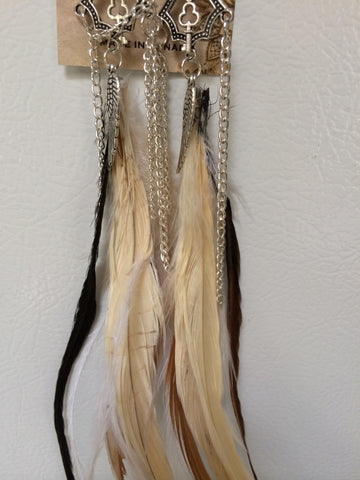 "Handcrafted Cruelty Free Leaf Drop Feather Earrings +12"" Nan'darach Designs - Carrie's Closet"
