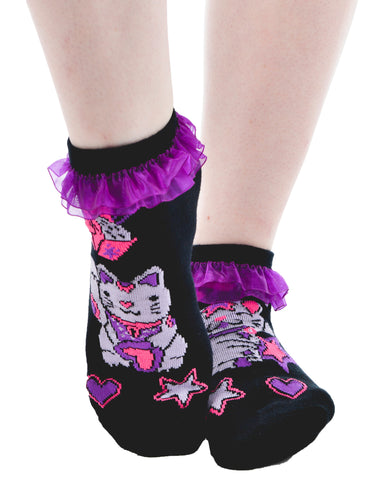 Lucky Cat Ruffled Ankle Socks - Carrie's Closet