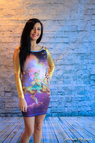 Galaxy Cat Hazard Gold PVC Sleeve BodyCon Dress - Carrie's Closet