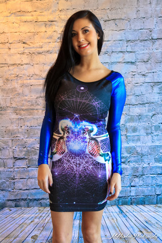 Unity Skeleton Hazard Blue PVC Sleeve BodyCon Dress - Carrie's Closet