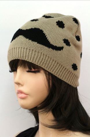Moustache Beanie in Taupe and Black - Carrie's Closet