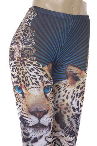 Blue Leopard Leggings - Carrie's Closet