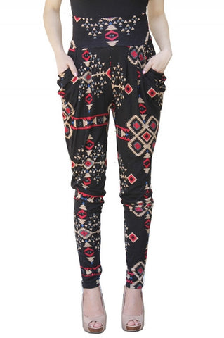 Extreme High Waist Harem Aztec Pants with Bubble Pockets - Carrie's Closet