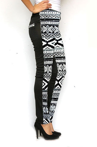 Black and White Aztec Ponte Leggings - Carrie's Closet  - 1