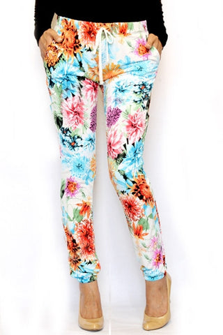 Trendy Ivory Floral Joggers - Carrie's Closet