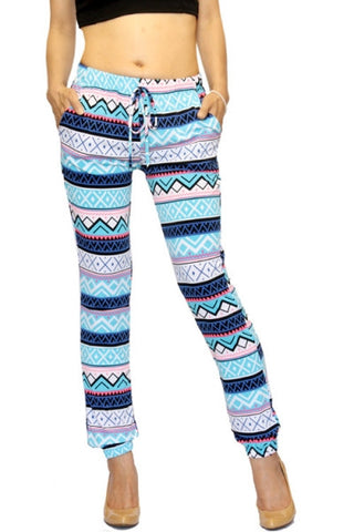 Blue Trendy Aztec Joggers - Carrie's Closet  - 1