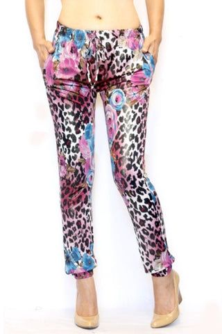 Pink and blue Leopard print Trendy Joggers - Carrie's Closet  - 1