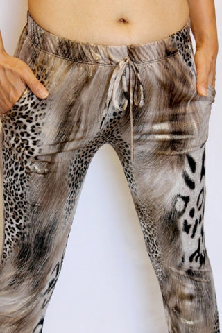 Brown and Gold Animal Print Joggers - Carrie's Closet  - 1