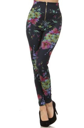 Navy with Pink Flowers High Waist Pin Up Girl Leggings with Zipper - Carrie's Closet