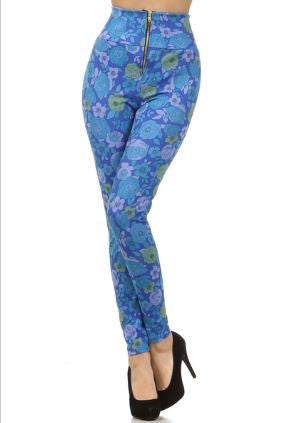 Periwinkle Blue and Mauve Pin Up Girl style high waist leggings - Carrie's Closet