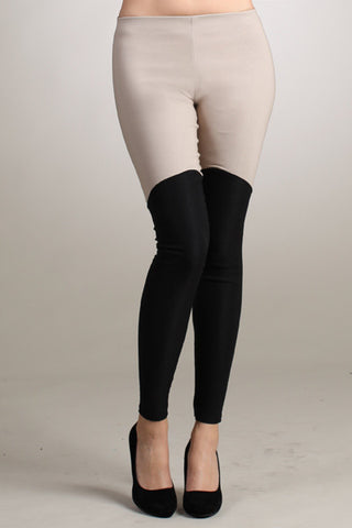 Taupe and black riding pants ponte leggings - only SMALL left! - Carrie's Closet