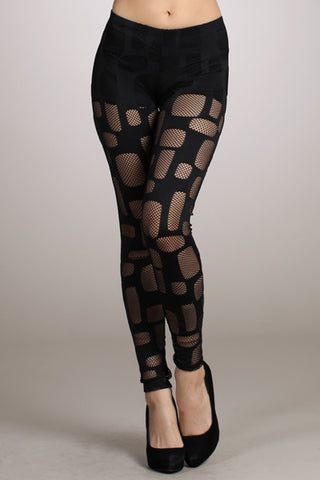 Sheer Black Leggings with Cutouts - Carrie's Closet
