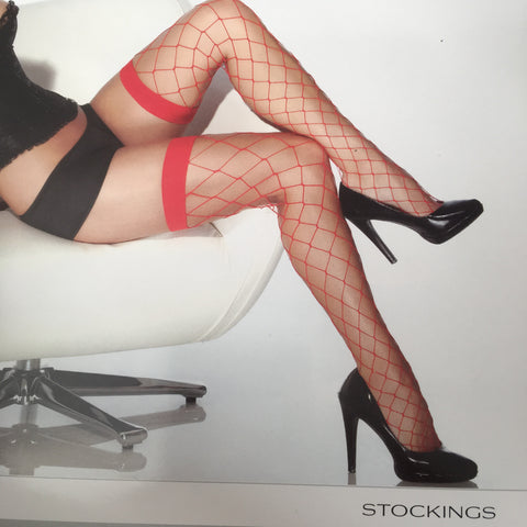 Red stockings Fence Net Thigh High Panty Hose Coquette