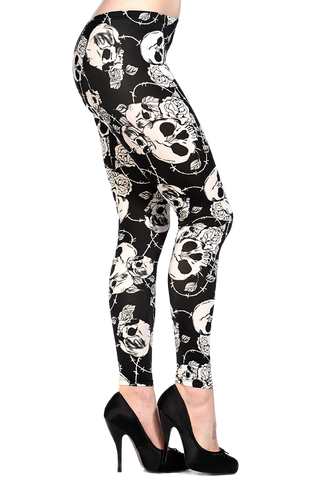 Skulls and Roses Black and White Leggings - Carrie's Closet