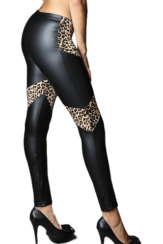 Leopard with Pleather Leggings