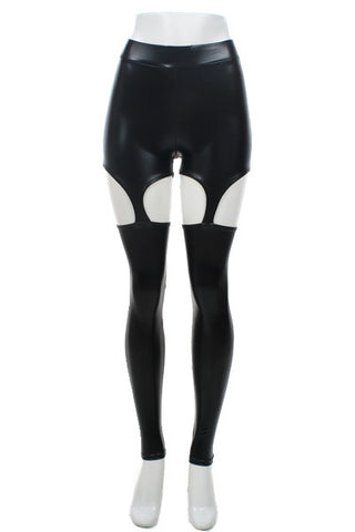Black Pleather Suspender Garter Leggings - Carrie's Closet