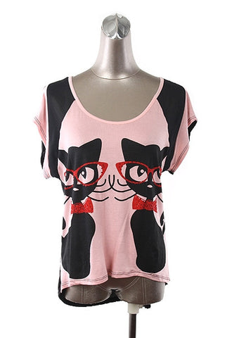 Cats with Glasses TShirt - Carrie's Closet