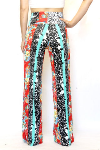 Teal Striped Floral Wide Leg Palazzo Pants - Carrie's Closet