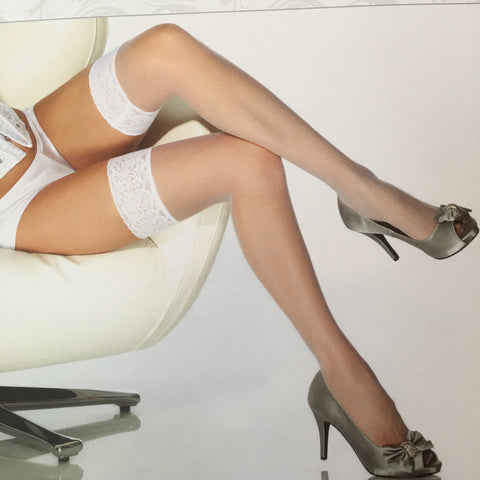 White stockings with White Lace Thigh High One Size Coquette 1726