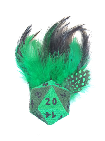 Green dungeons and dragons dice Feather Hair Fascinator - Carrie's Closet