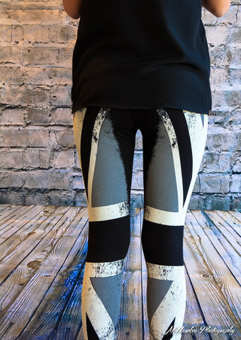 black and white burnout union jack leggings - Carrie's Closet