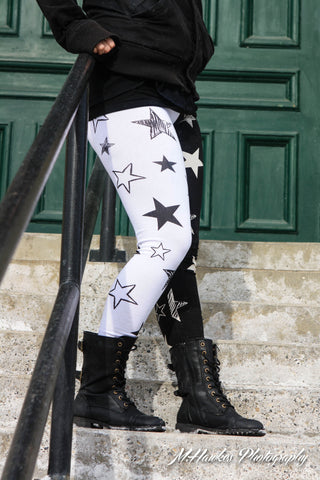 Cotton Blend Black and White Star Leggings - Carrie's Closet