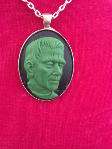 "Green Frankenstein Cameo Necklace 24"" chain - Carrie's Closet"