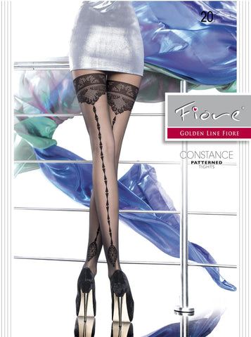 CONSTANCE Patterned Tights 20 den Fiore Hosiery - Carrie's Closet