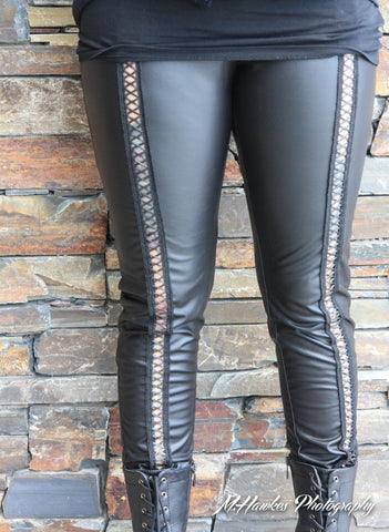 Black Corset Cut Out Faux Leather Leggings - Carrie's Closet  - 1
