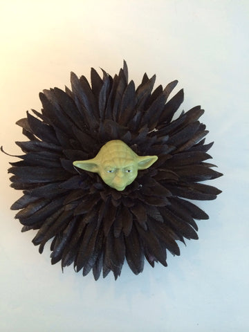 Star Wars Inspired Yoda Black Glitter Flower Fascinator - Carrie's Closet