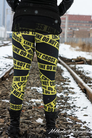 Do Not Cross Line Police Tape Leggings - Large - Carrie's Closet  - 1