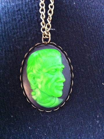 "Green Frankenstein on Black Resin Cameo Necklace 20"" chain - Carrie's Closet"