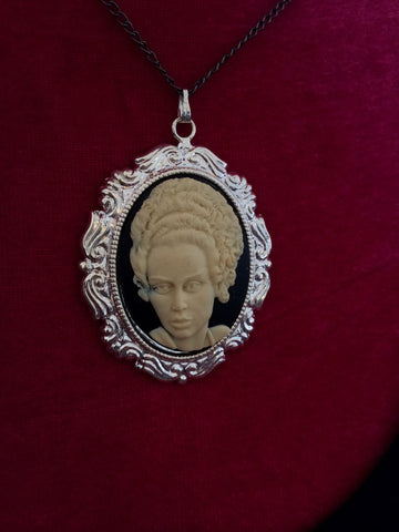 "Ivory Bride of Frankenstein on Black Cameo Necklace 20"" chain - Carrie's Closet"
