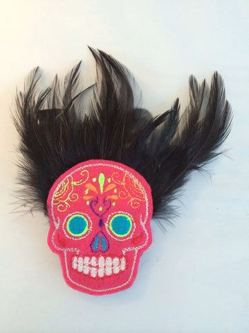 Pink Sugar Skull Day of the Dead Hair Fascinator - Carrie's Closet