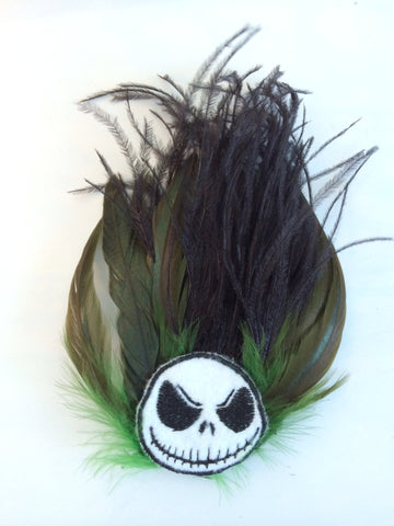 Green and Black Feather Hair Fascinator with Jack Inspired Tim Burton Decal - Carrie's Closet