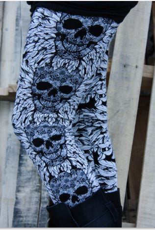Skull & Feather Plus Size Leggings in Gray - Carrie's Closet