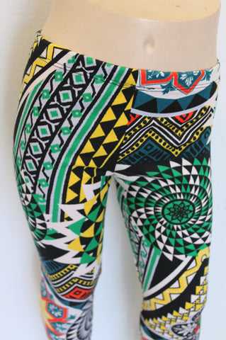 KIDS Multi Colored Geometric Girls Leggings Children - Carrie's Closet  - 1