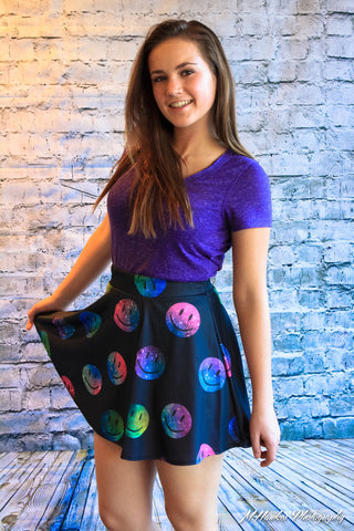Happy Face Skater Skirt - Carrie's Closet  - 1