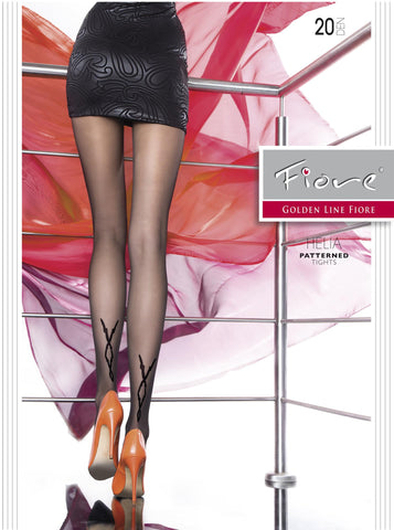 Helia Patterned Tights 20 den Fiore Hosiery - Carrie's Closet